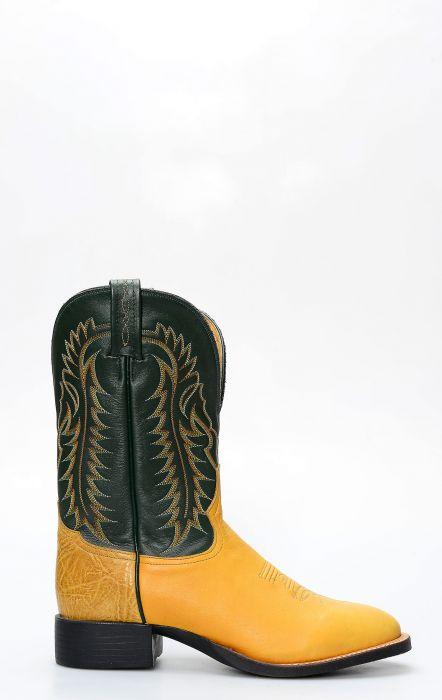 Stivali Tony Lama giallo in pelle di canguro