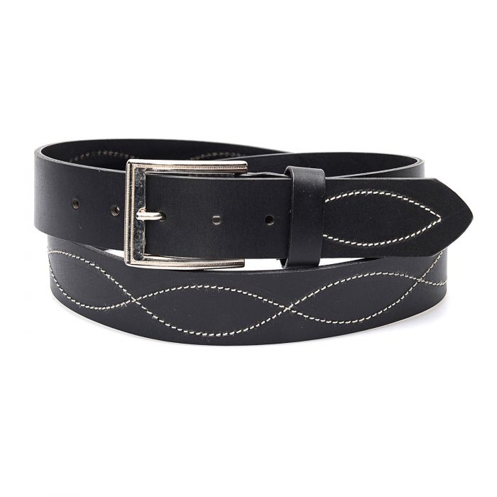 Western black embroidery belt in genuine leather