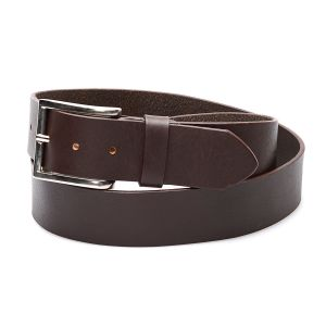 Dark brown genuine leather belt, simple with classic buckle