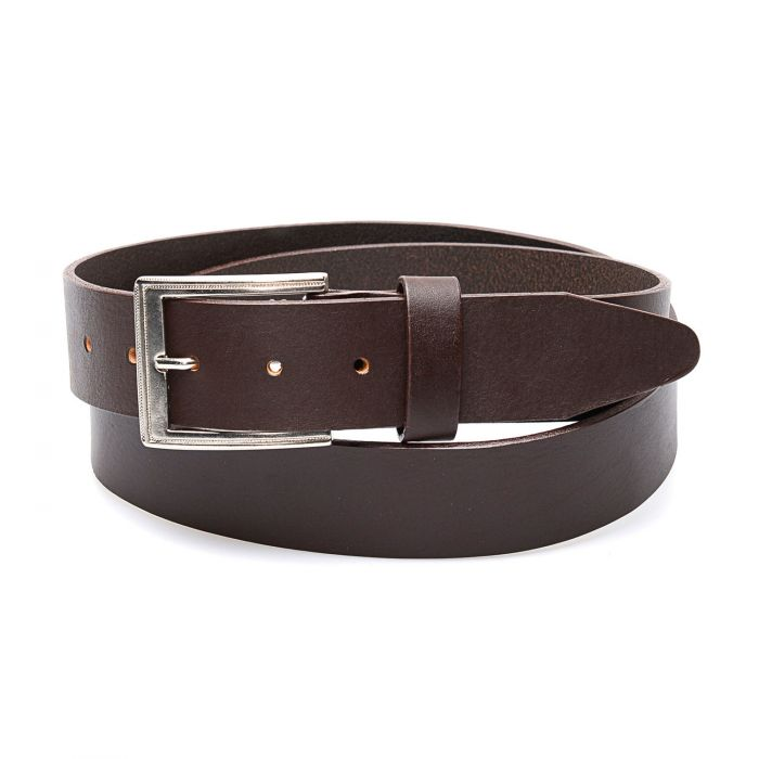 Dark brown belt in genuine leather, clean finish