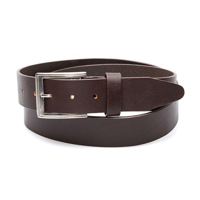 Dark brown belt in genuine leather, clean finish