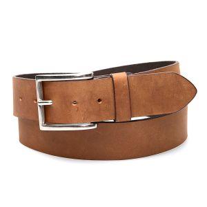 Cintura color miele in vera pelle, semplice con fibbia classica