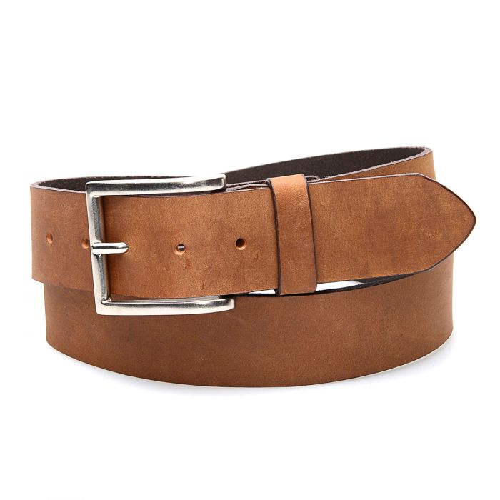Honey-colored real leather belt, simple with classic buckle