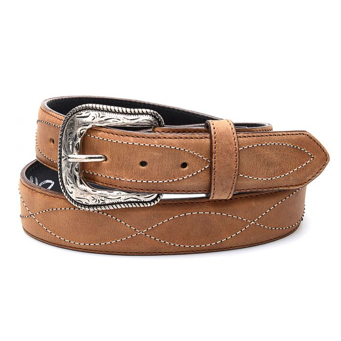 Honey-colored real leather belt with embroidery and edging