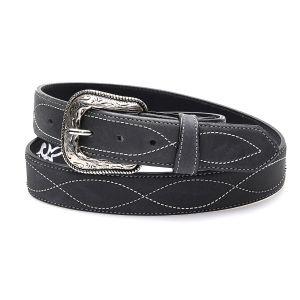Cintura nera in vera pelle con ricamo e bordatura