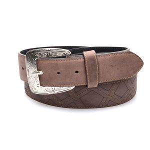 Brown belt in genuine leather with embroidery and engraving