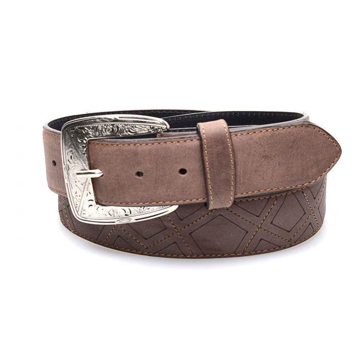 Cintura caffè in vera pelle; top tra le cinture western