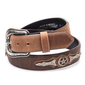 Cintura caffè/miele in vera pelle; top tra le cinture western