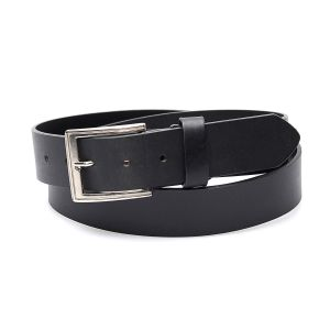 Black genuine leather belt with simple finish