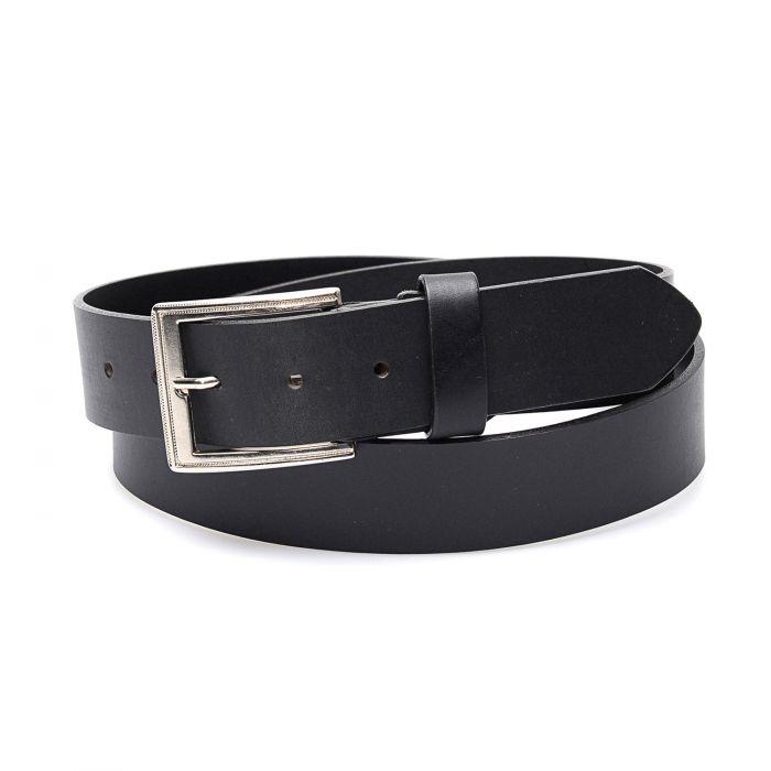 Cintura nera in vera pelle con finitura semplice