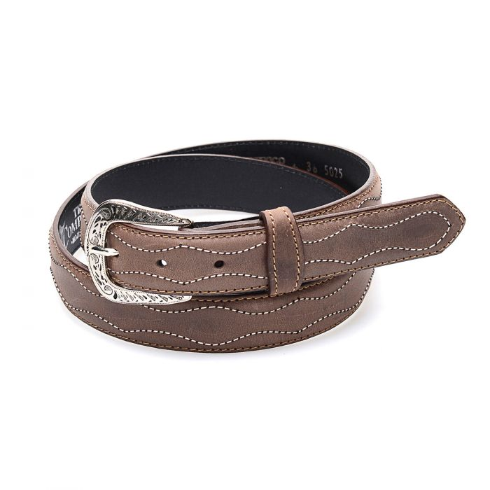 Brown belt in genuine leather with contrasting embroidery