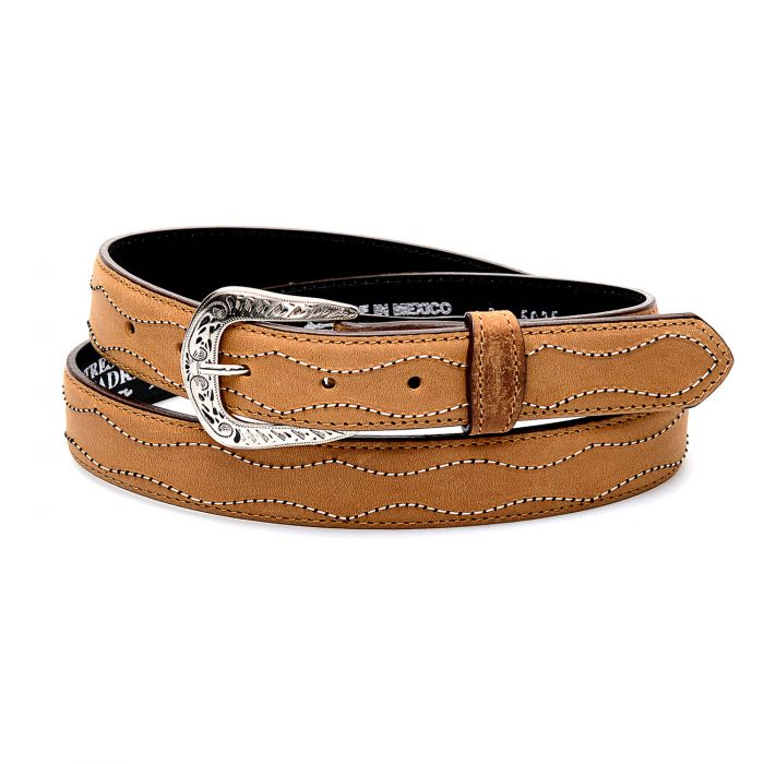 Honey-colored leather belt with contrasting embroidery
