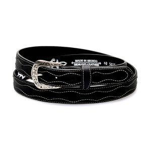 Cintura nera in vera pelle con ricamo bianco a contrasto