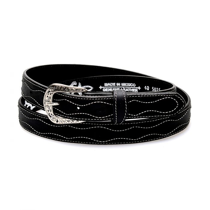 Black belt in genuine leather with contrasting white embroidery