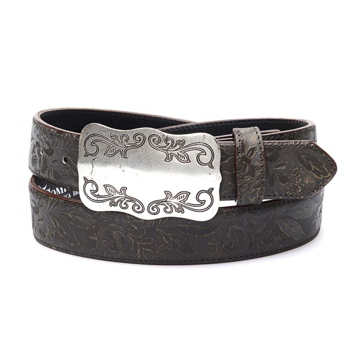 Dark brown genuine leather belt with matching embroidery and buckle