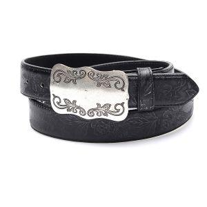 Cintura nera in vera pelle con ricamo in tono e fibbia