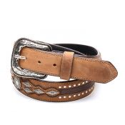 Honey-colored real leather belt with borders and studs
