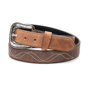 Two-tone honey and brown belt in genuine leather with embroidery