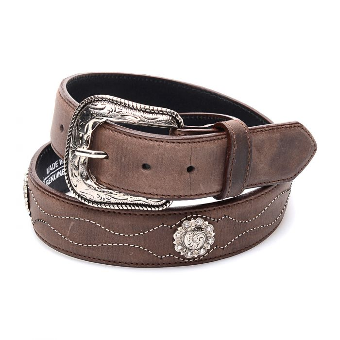 Dark brown leather belt with conchos
