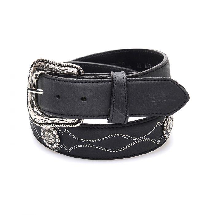 Cintura in pelle nera con conchos