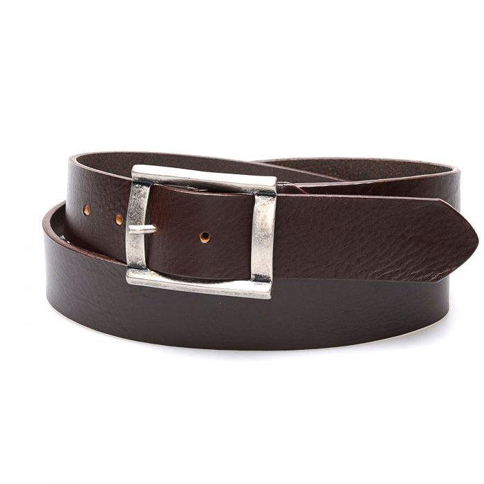 Dark brown leather belt with aged effect