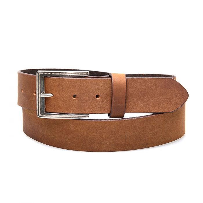 Honey-colored real leather belt with simple finish