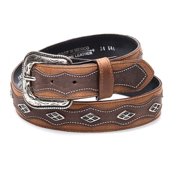 Honey and brown two-tone leather belt with studs and edging
