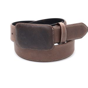 Brown belt with leather buckle