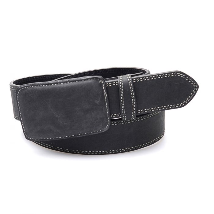 Black belt with leather buckle