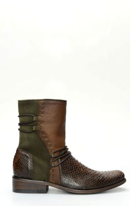 Cuadra ankle boot in honey-colored python leather