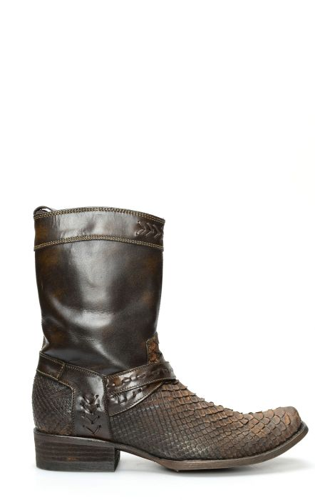 Short Boots by Cuadra dark brown Phyton