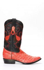 Stivali Texani Cuadra in pelle di Spalla Di Struzzo rosso