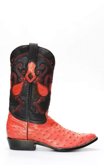 Cuadra Boot en cuir d'épaule d'autruche rouge