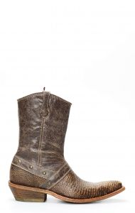 Cuadra low ankle boot with lizard leather zipper