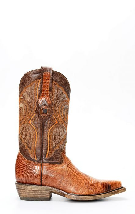 Stivali Texani Cuadra in pelle di Lucertola colore sfumato e finitura rustica