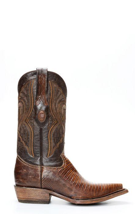 Stivali Texani Cuadra in pelle di Lucertola con speciale finitura rustica