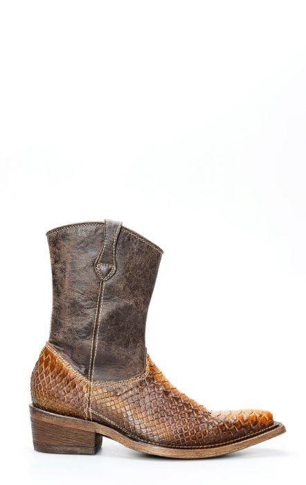 Cuadra bottines en cuir de python marron avec fermeture à glissière