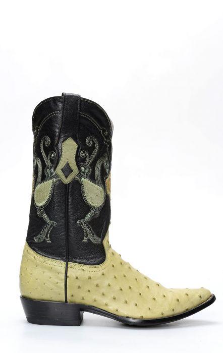 Stivali Texani Cuadra in pelle di Spalla Di Struzzo verde pistacchio