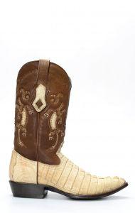 Stivali Cuadra in pelle di coccodrillo bianco invecchiato
