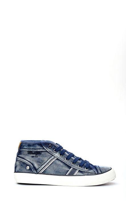 Wrangler Starry Mid Denim Blue Tennis Shoe