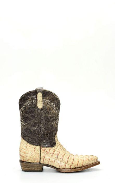Cuadra botte pour enfants en cuir de crocodile
