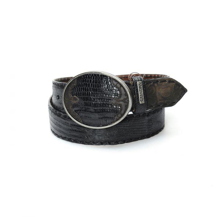 Ceinture Cuadra noire en peau de lézard