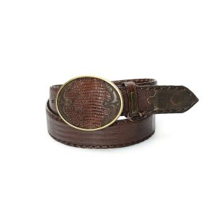 Cintura Cuadra marrone in pelle di lucertola con fibbia