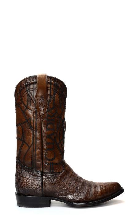 Stivali Texani Cuadra pelle di Coccodrillo colore marrone