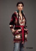 MITAWA LAKOTA NO GENDER LONG CARDIGAN BLACK/KAKI/RED/WHITE