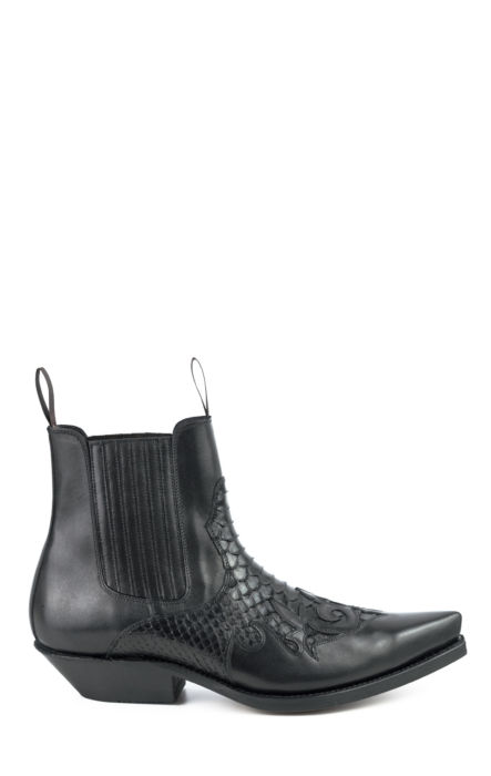Black Leather / Black Python Boot