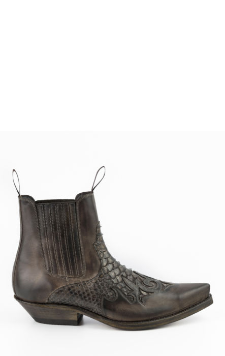 BOTTE EN CUIR MARRON/ PYTHON MARRON