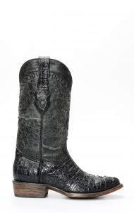 Stivali Texani Cuadra grigi in pelle di cocodrillo
