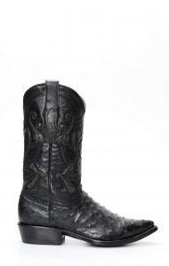 Cuadra boot in black ostrich shoulder leather