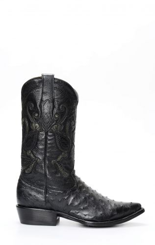 Cuadra boot in black ostrich shoulder leather